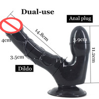 Wholesale Double Sex Toy Penis Dual - Double Dildo with Suction Cup Dual-use Anal Dildo Butt Plug Penis Lesbian Masturbation Gay Flirting Sex Toys Stuffed Stopper