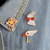 Wholesale bird locked - Cute SAKURA Star Stick Magic Wand Bird Head Rabbit Brooch for Girls Denim Jacket Pin Uniform Badge Fashion Japanese Animation Jewelry