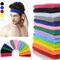 Wholesale Mens Hair Bands - Women Mens Sports Headband Cotton Hairband Stretchy Sweatbands Yoga Gym Hair Head Band Ladies Hair Accessories