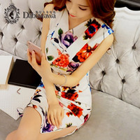 Wholesale Party Sexi Dress - Dabuwawa Midi Bodycon Dresses Prints Flower Knee-length Sexi Party Dresses Tunic Boho Floral Summer Vintage Dresses For Work Sleeveless