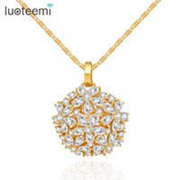 Wholesale Gold Chain Link Costume Necklace - LUOTEEMI Brand Luxury Necklaces & Pendants Costume Jewelry Big Shinning Flower Cubic Zirconia Champagne Gold-Color Free Shipping