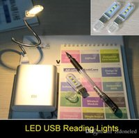Wholesale 3 LEDS Mini Computer USB nigh lights Gadget LED Lamp USB Light White Warm White Light for Notebook Laptop Mobile Power Reading Book
