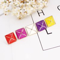 Wholesale Cute Korean Silver Jewelry - New korean five color square earrings for women gift party cute square enamel stud earrings fashion jewelry women accessories wholesale