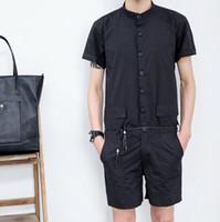 Wholesale Korean Pants For Mens - 2017 New Korean Harajuku Gothic Casual Fashion Mens Jumpsuit Unique Designer Overalls Rompers For Men Black Khaki Cargo Pants