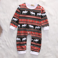 Wholesale Organic Baby Boutique - Christmas Baby Pajamas Reindeer Organic Ctoon Romper Suit Toddler Outfit Festival Boutique Clothing Wholesale Stylish Kids Clothes Unisex