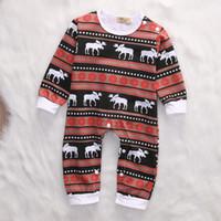 ingrosso pigiami organici-Natale Baby Pigiama Renna Organic Ctoon Pagliaccetto Suit Toddler Outfit Festival Boutique Abbigliamento all'ingrosso alla moda Abbigliamento per bambini Unisex