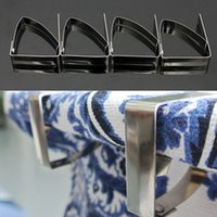 Atacado-simples pano Clamps Top Quality Tablecloth Aço Inoxidável Tabelas Cover Clips Holder Party Picnic Wedding Prom 4PCS