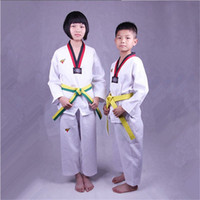 Wholesale Taekwondo Suit Striped Solid Uniforms White Size For Children And Adult