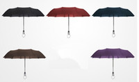 Wholesale umbrella commercial resale online - Hot ousehold Sundries Fully automatic Three Folding Male Commercial Compact Large Strong Frame Windproof Ribs Gentle Black Umbrellas