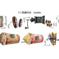 Wholesale Japanese Washi Masking Paper - 10 Pcs lot Washi Masking Tapes Coffee Adhesive Tapes Scrapbooking DIY Paper Japanese Stickers Size 3Cm*10m 2016
