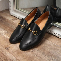 Wholesale Women Shoes Mules - Best Selling 2017 Women Genuine Leather Fashion Loafers Luxury Brand Mules Shoes High Quality Moccasins Shoes Horsebit Flat Casual Shoes F01