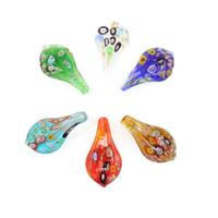 Wholesale Wholesale Glass Art Teardrops - 12pcs box Glass Lampwork Art Pendants Make By Hand Millefiori Teardrop Necklace Pendants New Design, MC0028