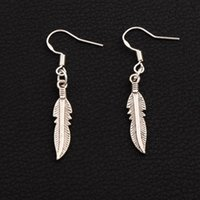 Wholesale Feather Dangle Earrings - Cute Feather Earrings 925 Silver Fish Hook 40pairs lot Antique Silver Chandelier E564 42.1x5.4mm