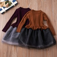Everweekend New Children Kids Autumn Winter Girl Knitted Tulle Patchwork Dress Mesh Design Spliced ​​Baby Dress Clothing