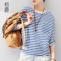 Wholesale Women Woven Shirts - Wholesale-Toyouth 2016 New Arrival Fashion Women T-Shirts Long Batwing Sleeve Striped Base Casual Tees Cotton Woven O-Neck Tops