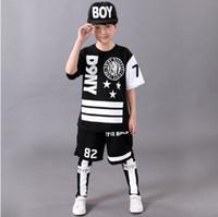 Wholesale Hip Hop Suits Girls - 2017 Children's Sports Suit Boy Casual Tracksuit Kids Hip Hop Dancewear Boys Spring Clothes Cool Fashion Black White