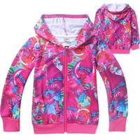 Wholesale Long Branches - Trolls Kids Cartoon Hoodies Poppy Branch Spring Autumn Hoodied Tshirts Girls Long Sleeve Sweatshirts Kids Clothes