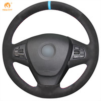 Mewant Black Suede Car Steering Wheel Cover pour BMW X3 2014 X5
