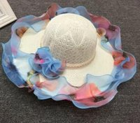 Wholesale Lace Beach Hats - Summer Fashion Floppy Straw Hats Casual Vacation Travel Wide Brimmed Sun Hats Flower Lace Beach Hats Hollow Out Hat Women Sunshade Cap