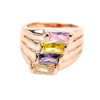 Wholesale Rings Three Fingers - Big Anelli18K Rose Gold Ring Women Jewelry Punk Rock Colorful Imitation Crystal Finger Brand Rings for Women