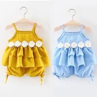 Wholesale Girls Sleeveless Harness Dress - 2017 Summer Baby Girls Flower Harness Top Set with Pants Kids Boutique Clothing Little Girls Short Braces Dresses 2 colors K049