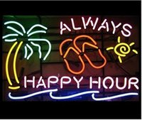 """Wholesale Happy Hour Signs - NEW Always Happy Hour Palm Tree Glass Neon Sign Light Beer Bar Pub Sign Arts Crafts Gifts Sign 19X19"""""""