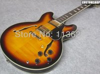 Wholesale Semi Sunburst 335 - Custom Shop 50th Anniversary 335 Vintage Sunburst CS Semi Hollow Body Jazz Electric Guitar Black Pickguard Double F Holes Block Pearl Inlays