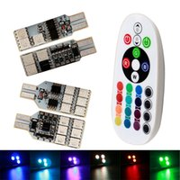 2pcs / Set 5050 6 12 SMD RGB LED CANBUS T10 W5W 194 168 Lampe à démo LED Lampe Auto Car Wedge Side Light Multi Color avec télécommande Strobe