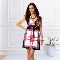 Wholesale Hot Sexy Fit - Chic style Floral Printed sleeveless slim fitting hot sexy deep V-neck summer mini dress for mature women
