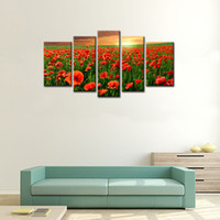 Wholesale Canvas Oil Painting Red Poppy - 5 Panels Flower Sea Wall Art Canvas Painting Red Poppy Flower with Wooden Framed Ready to Hang for Living Room Home Decoration