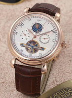 große lederband uhren männer großhandel-AAA Hohe Qualität Neue luxusmarke Männer Automatische Uhr Sky Moon Sport Style Leder big Band Männer Uhren Armbanduhr für gold 43175 / 000R