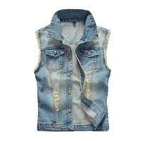 Wholesale Mens Destroyed Denim Shorts - Wholesale- Mens Destroyed Denim Vests Light Blue Fringed Sleeveless Jackets Anchor Waistcoat Jeans Gilets 2016 Fashion Men Clothing 5XL