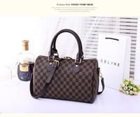 Wholesale Boston Bag Strap - Luxury Top quality lady genuine oxidizing Leather boston handbag travel speedy 25cm 30cm handbag with shoulder strap purse tote bag