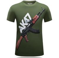Wholesale Cheapest Branded Shirts - Hot 2016 New Arrival The Cheapest Brand AK47 Gun Top Quality 3d Printed Men's Short sleeve Wear T Shirt 100% Cotton Men's Shirt
