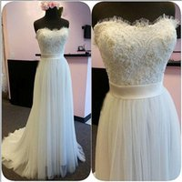 Wholesale Long Plus Size Engagement Dresses - Elegant Strapless Soft Sweetheart Evening Dressess Beaded Lace Appliques Top Long Formal Engagement Reception Dress Prom Gowns with Sash
