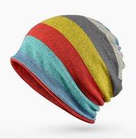 ingrosso sciarpa a maglia a righe-Berretto a righe per donna Beanie per uomo Donna Berretti per maschera Maschera per cappello Sciarpe per collo Cappelli per equitazione all'aperto CP-006