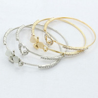 Wholesale Diamante Gold Heart - Wholesale Diamante Crystal Clover Bracelets Luxury Silver Gold Love Heart Bangle For Women Party Jewelry Gift