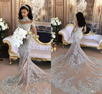 Wholesale Tier Collared Shirt - 2017 Silver Luxury Wedding Dresses Sheer Long Sleeves High Neck Lace Appliqued Beaded Mermaid Bridal Gowns Chapel Train Custom Made
