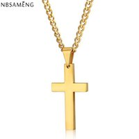 Wholesale Male Gold Pendants - Wholesale-2016 Cross Necklaces & Pendants For Men Stainless Steel 18K Gold Plated Male Pendant Necklaces Prayer Jewelry YK5046