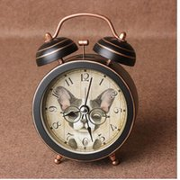 Wholesale Large Bell Decorations - Brass Crafted Human The alarm bell alarm clock retro large office students lazy big bell vocal light mute clock