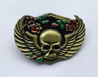 Wholesale Flower Belt Buckles - Skull With Flower Belt Buckle SW-BY529 suitable for 4cm wideth snap on belt with continous stock