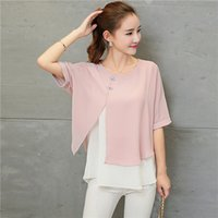 Wholesale Lady Blouses Piece - Chiffon Blouse Shirt Women 2017 New Summer Korean Style Short Sleeve Shirts Female Faux Two Piece Ladies Tops Buttons Clothing