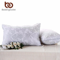 ingrosso cuscini grigi blu-All'ingrosso- BeddingUnited Pillow Elegant Floral Printed Soft Neck Down Cuscino alternativo sul letto Pink Gray and Blue 48cmx74cm Biancheria da letto
