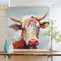 abstrakte ölgemälde tiere großhandel-Gerahmte niedliche Kuh Cartoon, hochwertige echte handgemalte Wand-Dekor-abstrakte Tierkunst-Ölgemälde-Segeltuch-multi Größen