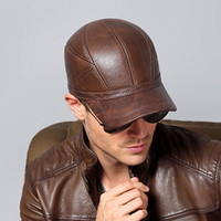 Wholesale Protector Hat - Hot Men Genuine Leather Keep Warm Baseball Caps Winter Autumn Hat Ear Protector Snapback Men Male Windproof Dad Hats Outdoors Christmas gift