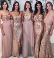 Wholesale Images Cool - Sequins With Chiffon Long Style Girl Cool Bridesmaid Dress Chinese Mermaid A line Style Wedding Guest Dresses Inspiration