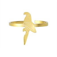 Wholesale Origami Ring - Wholesale 10Pcs lot 2017 New Fashion Gold Filled Mens Rings Stainless Steel Animal Jewelry Cute Origami Parrot Adjustable Silver Rings