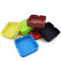 Wholesale Home Design Colors - New Design Portable Square Silicone Ashtray Eco-friendly Shatterproof Smoking Accessories Cigarette Ashtray For Home 6 Colors YHG002