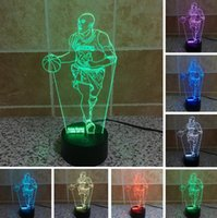 Hot New Basketball Superstar 3D Fans de esportes LED Night Light RGB Gradiente colorido Atmosfera Visual Lamp Kid Novelty illusion Lighting Presentes