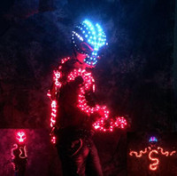 Wholesale Armor Mask - LED costume colorful luminous mask skull helmet luminous armor Illuminated glow night service performance props dragon
